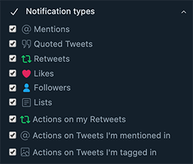 TweetDeck Notifications Dialog